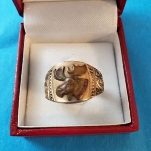 Vintage Moose ring gold plated size 10.5